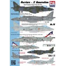 Декаль: Самолеты Харриер одно-двухместные II генерации (4 варианта)