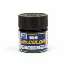 """Краска эмалевая """"Mr. Color"""" темно-зеленая RLM71, 10 мл"""