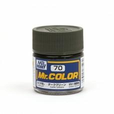 """Краска эмалевая """"Mr. Color"""" темно-зеленая, 10 мл"""