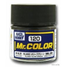 """Краска эмалевая """"Mr. Color"""" оливково-зеленая RLM80, 10 мл"""