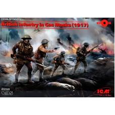 Британская пехота в противогазах, 1917 год