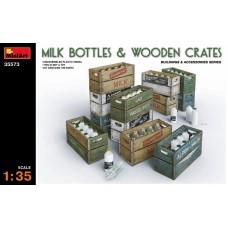 Бутылки молока с ящиками