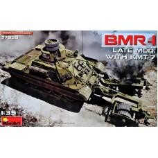 Бронированная машина БМР-1 поздней модификации с минным тралом КМТ-7